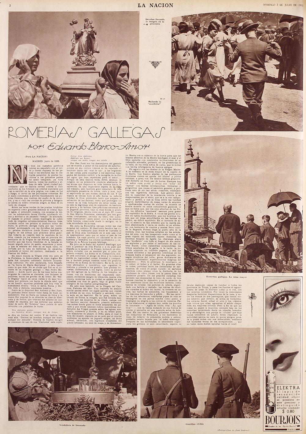 LaNacion1935. Las Romerias Gallegas. 56 x 38 cm