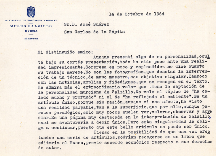Museo salcillo. Carta 1