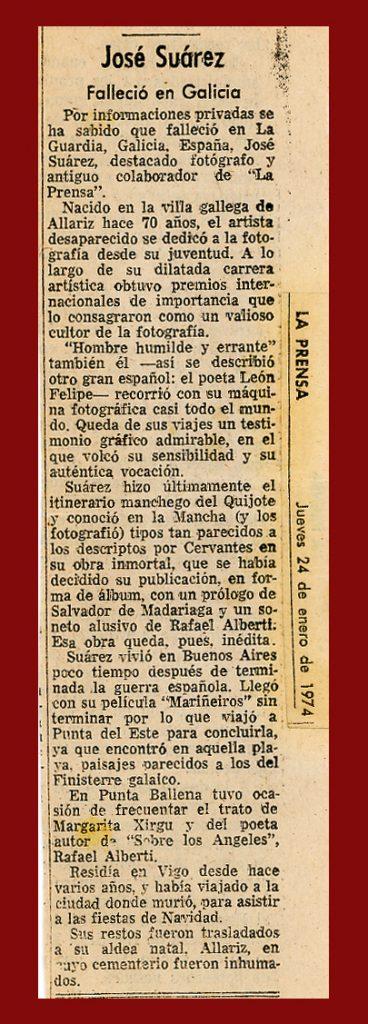 Nota necrolóxica de La Prensa