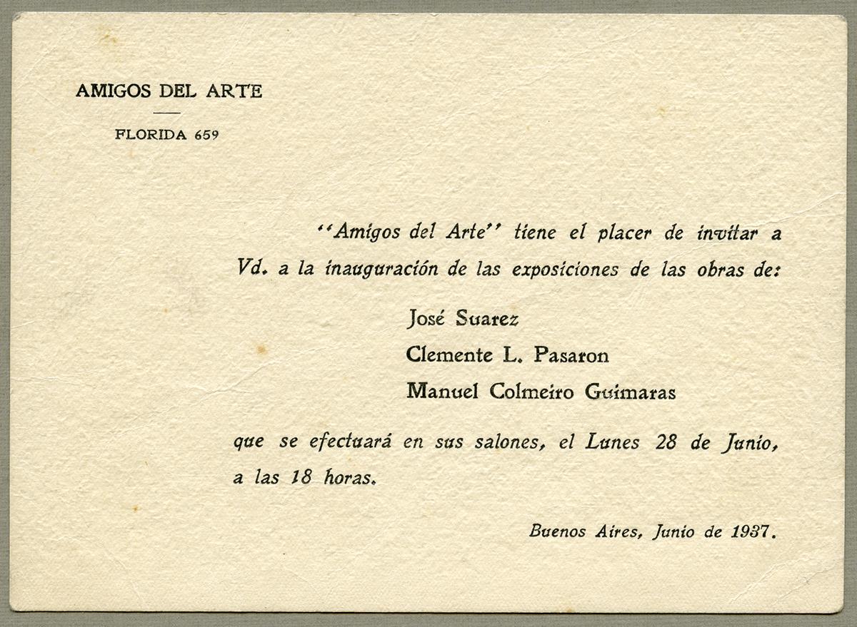 Invitación exposición en Amigos del Arte. 1937