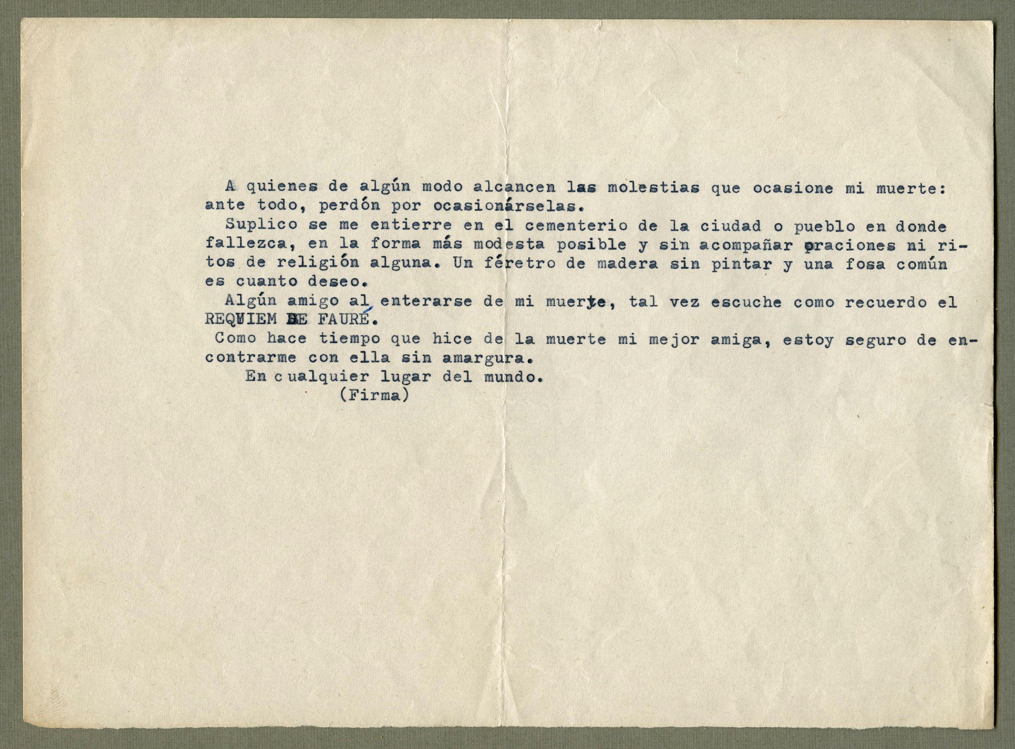 Carta de J Suárez levaba con el a súa morte